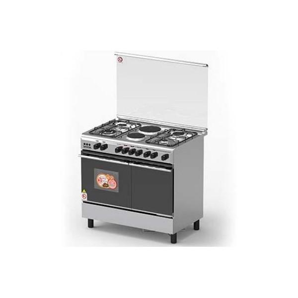 Cuisiniere A Gaz Vista 4feux A Gaz 02feux Electrique 62l Four A Gaz Cache Bouteille Stainless Steel Atti Mg